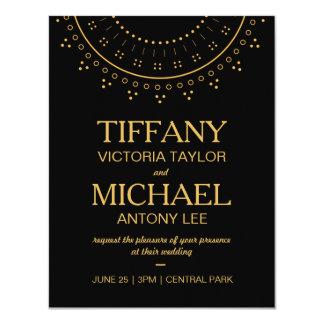 Schwarze Hochzeits-Einladung mit Goldbeschriftung Karte