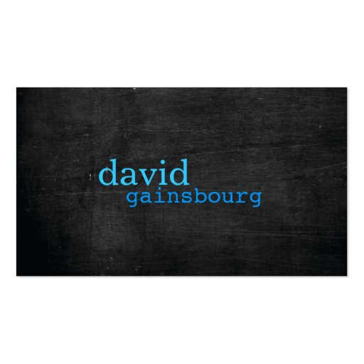 Schwarze hölzerne blaue Typografie-Visitenkarte