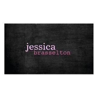 Schwarze hölzerne rosa Typografie-Visitenkarte Visitenkarten