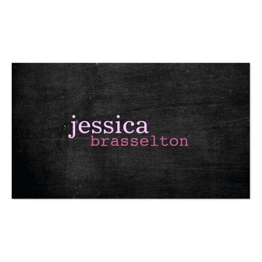Schwarze hölzerne rosa Typografie-Visitenkarte