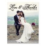 Schwarze hübsche Skript-Hochzeit danken Ihnen Post Postkarten