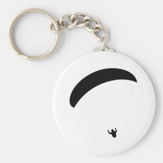 schwarze Ikone des Gleitschirmfliegen Schlüsselanhänger