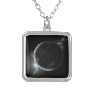 schwarze Illustration des Planeten 3d im Universum Versilberte Kette