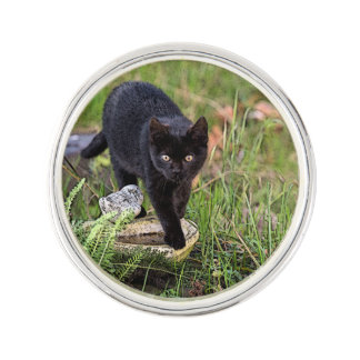 Schwarze Katze Anstecknadel