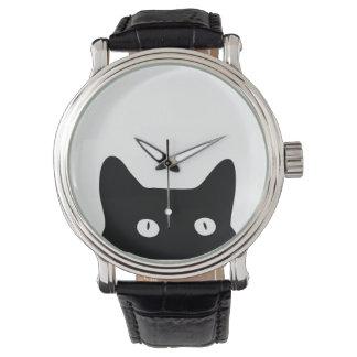 Schwarze Katze Armbanduhr