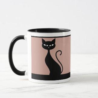 Schwarze Katze auf rosa Hintergrund Tasse