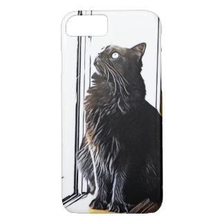 Schwarze Katze auf Windowsill iPhone 8/7 Hülle