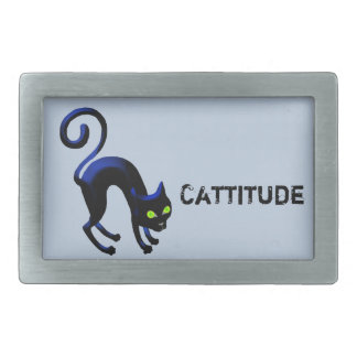 Schwarze Katze Cattitude Rechteckige Gürtelschnalle