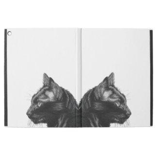 Schwarze Katze der Holzkohle, die ipad Fall