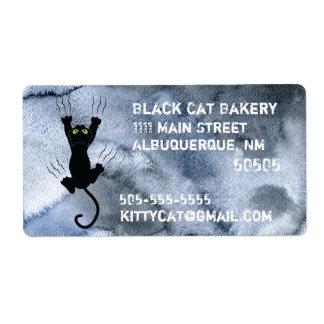 Schwarze Katze, die schwarzes Aquarell Geschäft