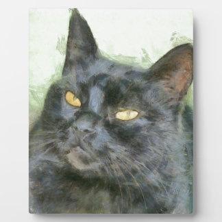 Schwarze Katze Fotoplatte
