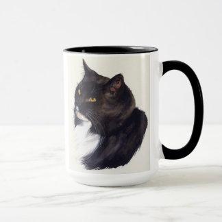 Schwarze Katze gemalt in der Wasserfarbe Tasse
