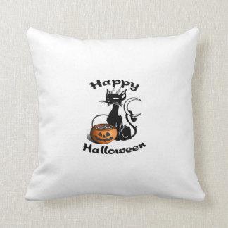Schwarze Katze glückliches Halloween Kissen