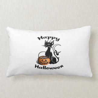 Schwarze Katze glückliches Halloween Lendenkissen