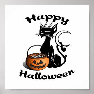 Schwarze Katze glückliches Halloween Poster
