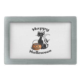 Schwarze Katze glückliches Halloween Rechteckige Gürtelschnalle