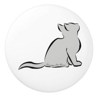 Schwarze Katze, graue Fülle, innerer Text Keramikknauf