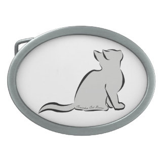 Schwarze Katze, graue Fülle, innerer Text Ovale Gürtelschnalle