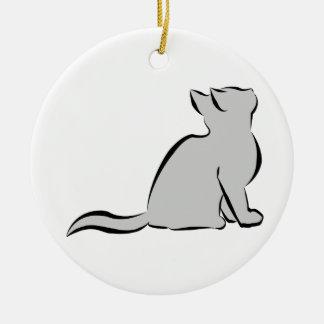 Schwarze Katze, graue Fülle Keramik Ornament