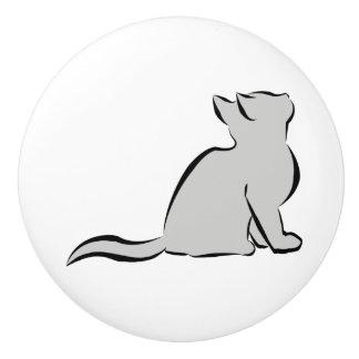 Schwarze Katze, graue Fülle Keramikknauf