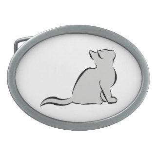Schwarze Katze, graue Fülle Ovale Gürtelschnalle