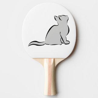 Schwarze Katze, graue Fülle Tischtennis Schläger