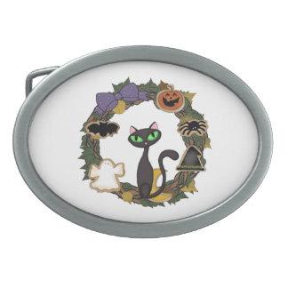 Schwarze Katze Halloween Ovale Gürtelschnalle