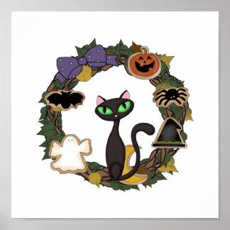 Schwarze Katze Halloween Poster