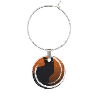 Schwarze Katze Halloweens im gewundenen Entwurf Glasmarker