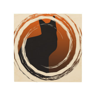 Schwarze Katze Halloweens im gewundenen Entwurf Holzwanddeko