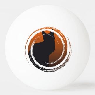 Schwarze Katze Halloweens im gewundenen Entwurf Ping-Pong Ball