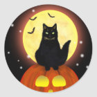 Schwarze Katze Halloweens mit Kürbis Runder Aufkleber