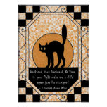 Schwarze Katze Halloweens Poster