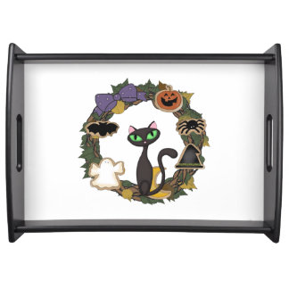 Schwarze Katze Halloweens Tablett