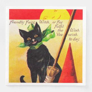 Schwarze Katze Halloweens Vintage Partyservietten Papierserviette