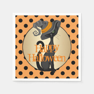 Schwarze Katze im Hexe-Hut glückliches Halloween Serviette