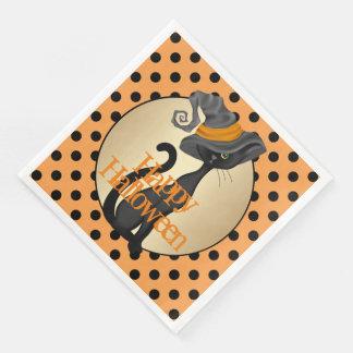 Schwarze Katze im Hexe-Hut-Halloween-Party Papierserviette
