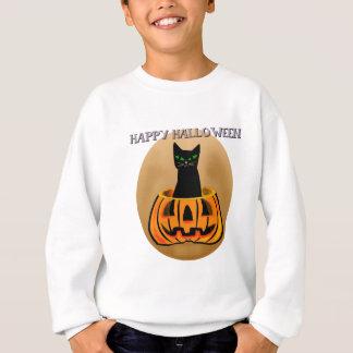 Schwarze Katze im Kürbis Sweatshirt