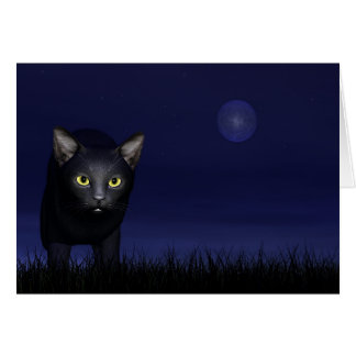 Schwarze Katze in der Nacht Grußkarte