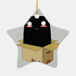 Schwarze Katze in einem Kasten Keramik Stern-Ornament