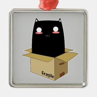 Schwarze Katze in einem Kasten Quadratisches Silberfarbenes Ornament