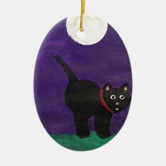 Schwarze Katze Keramik Ornament