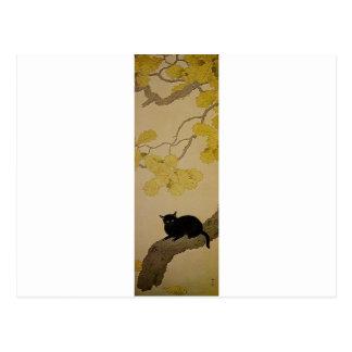 Schwarze Katze (Kuroki Neko) durch Hishida Shunso Postkarte