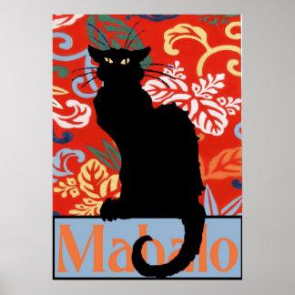 Schwarze Katze Mahalo Dank Plakat