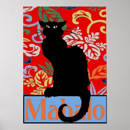 Schwarze Katze, Mahalo, Dank, Plakat