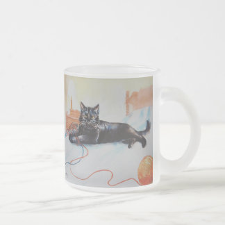 Schwarze Katze mit Garn Mattglastasse