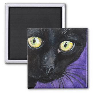 Schwarze Katze mit Gelb mustert Illustration Quadratischer Magnet