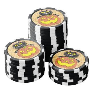 Schwarze Katze mit Jack O Laterne Pokerchips