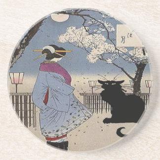 Schwarze Katze mit japanischer Dame Sandstein Untersetzer