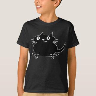 Schwarze Katze mit weißer Linie skateboarding T - T-Shirt